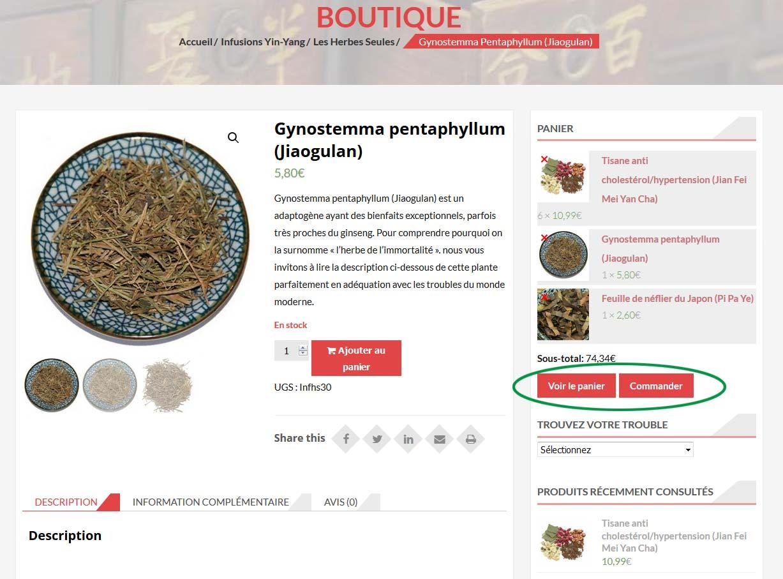Page du produit Jiaogulan