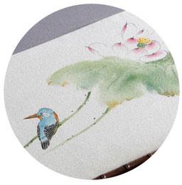 Dessin sur le tapis de thé